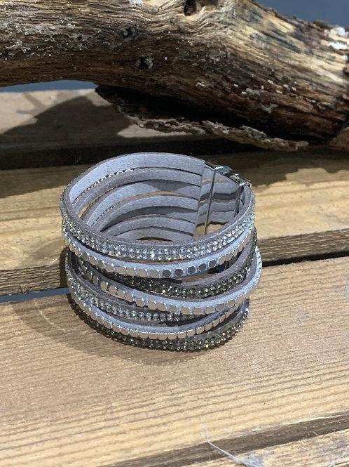 Sparkle Multi Strand Silver Suede Bracelet