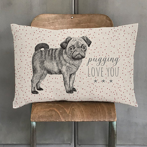 Pugging Love You Feather Filled Cushion
