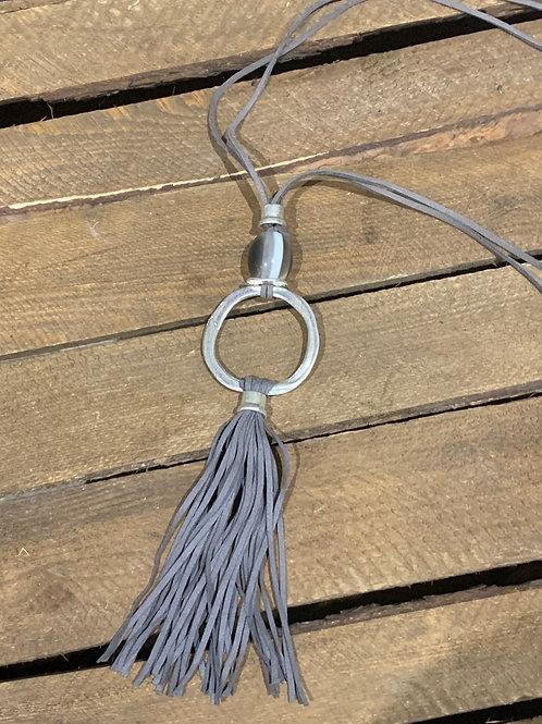 Suede Tassel Pendant Necklace
