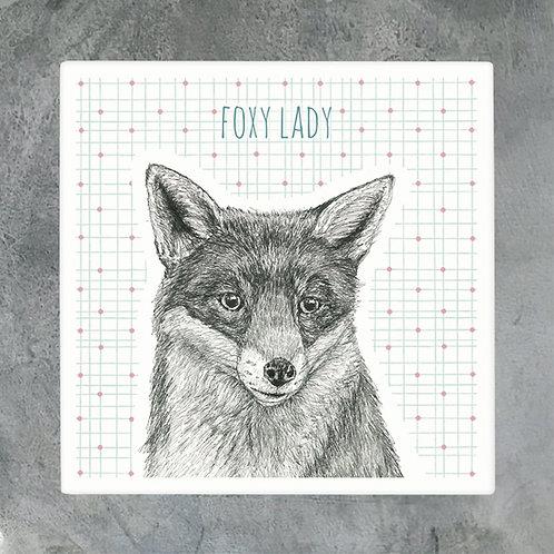 Foxy Lady Porcelain Coaster