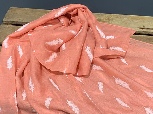 Coral Pink Embossed feather Scarf
