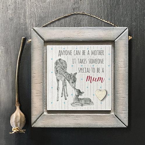 Deer Mum Wooden Picture