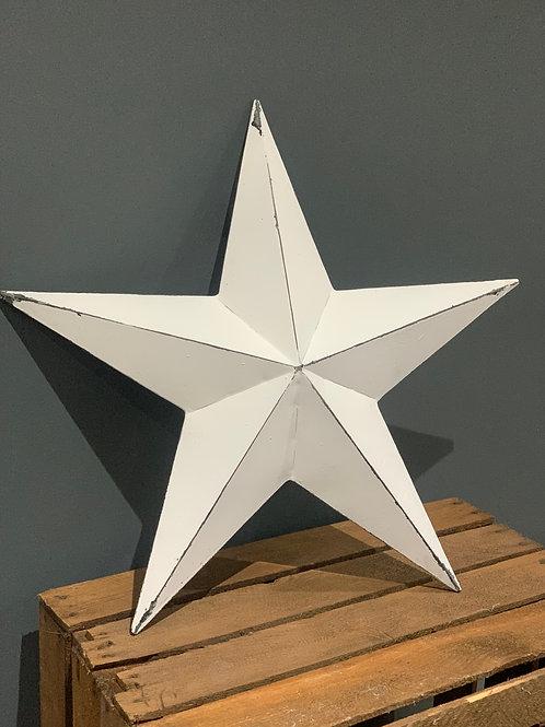 52cm White Metal Barn Star