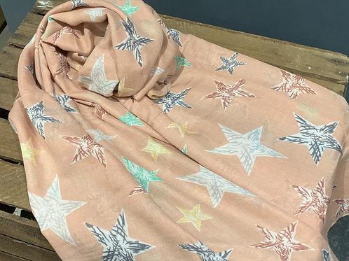 Pink Sketch Star Design Scarf