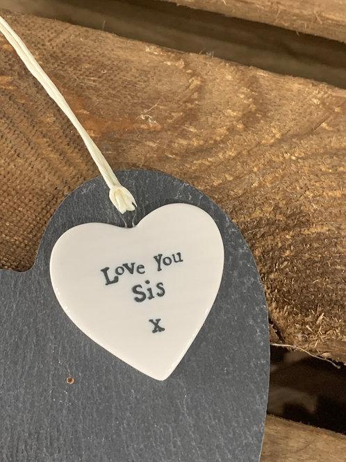 Love You Sis Porcelain Heart