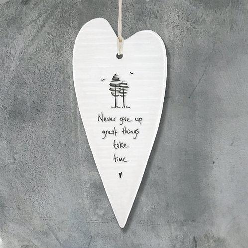 Never Give Up Long Porcelain heart