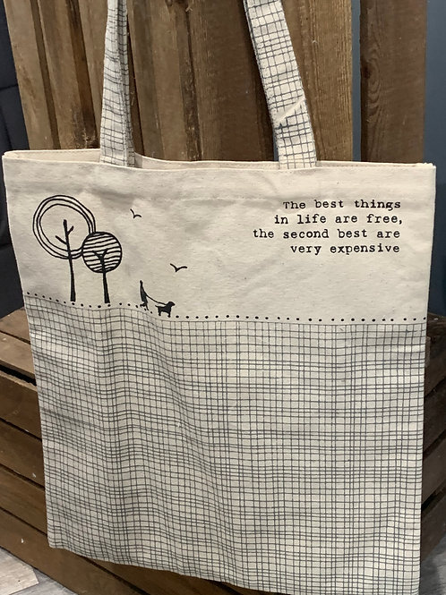 Best Things Are Free Cotton Shopping Bag