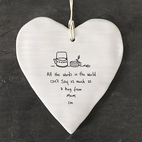 A Hug From Mum Porcelain heart