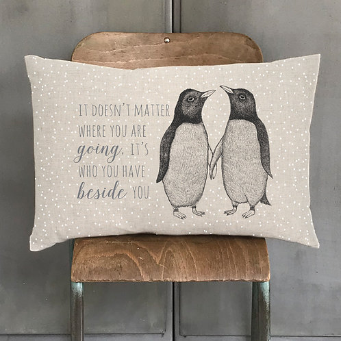 Penguins Feather Filled Cushion