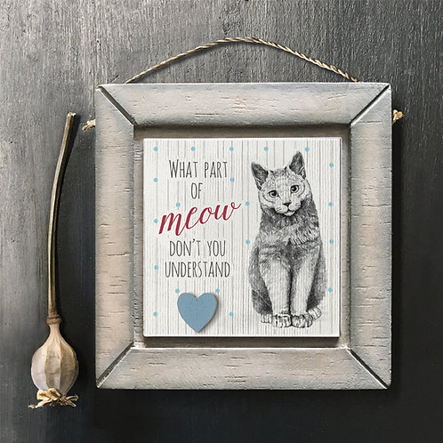 Meow Cat Wooden Sign