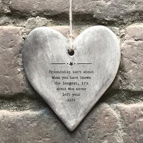 Friendship Rustic Porcelain Heart