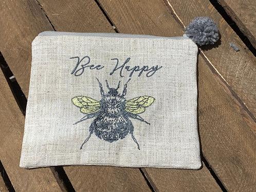 Bee Happy Pom Pom Cosmetic Bag