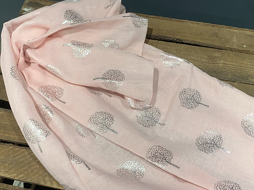 Baby Pink Silver Tree Scarf