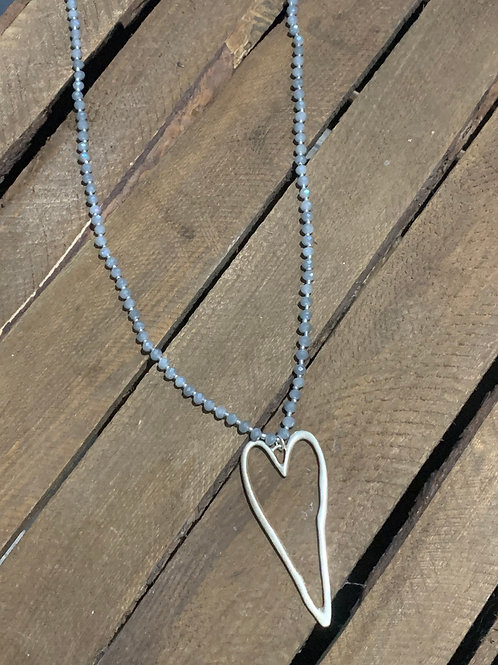 Glass Beads Heart Pendant Necklace