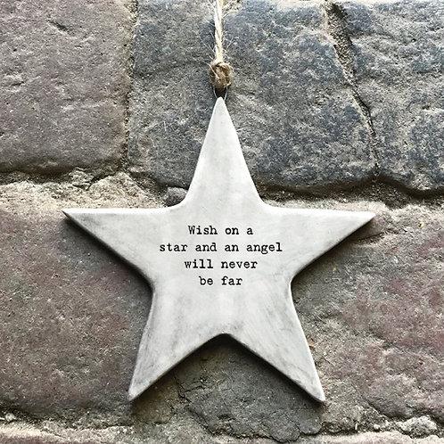 Wish Rustic Porcelain Star