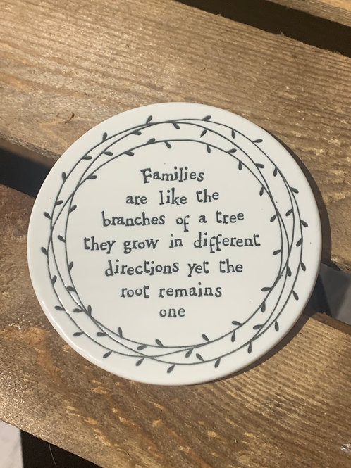 Families Round Porcelain Coaster
