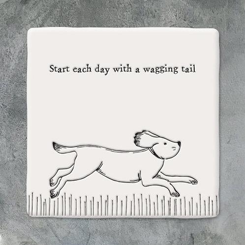 Running Dog Porcelain Coaster