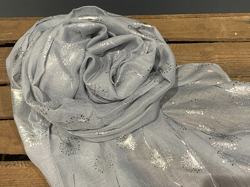 Stone Grey Silver Dandelion Scarf