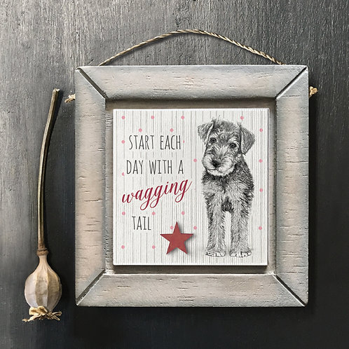 Wagging Tail Dog Wooden Picture