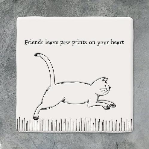 Running Cat Porcelain Coaster
