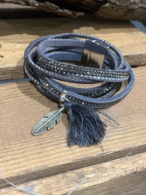 Grey Double Wrap Feather Bracelet