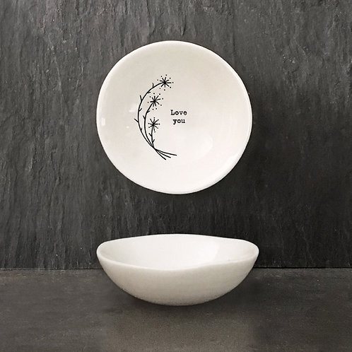 Love You Small Porcelain Wobbly Bowl