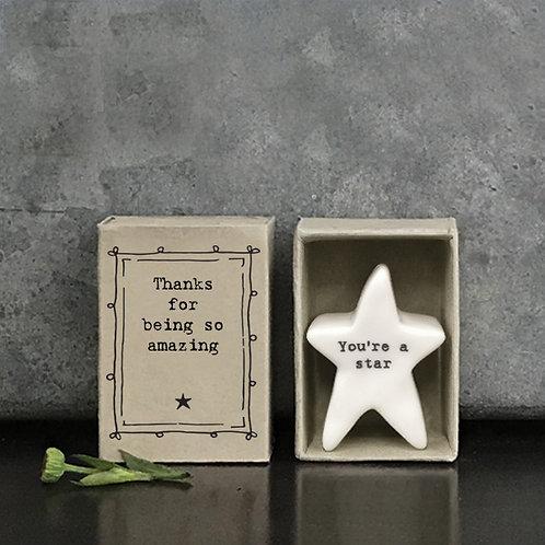 Thanks For Being Amazing Porcelain Star Matchbox Keepsake