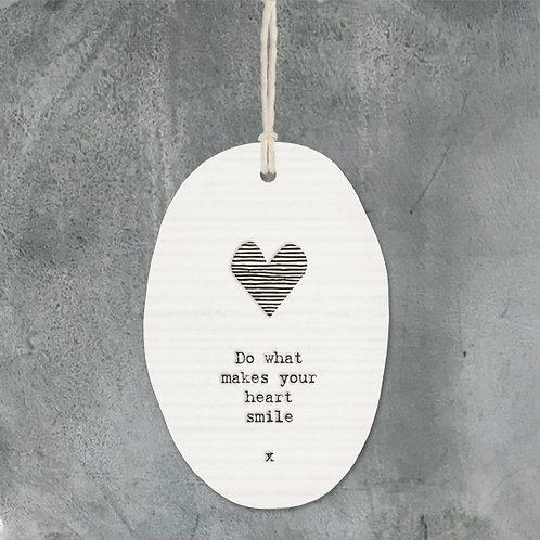 Heart Smile Porcelain Oval Hanger