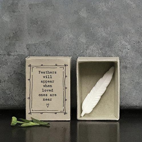 Porcelain Feather Matchbox Keepsake