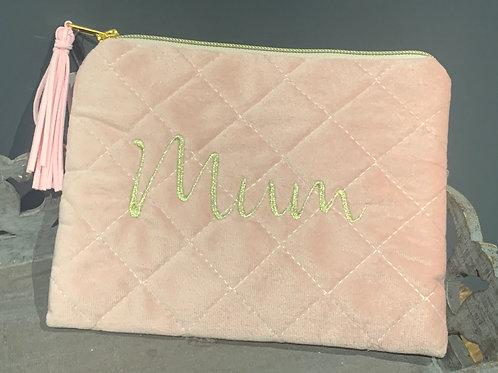 Mum Pink Quilted Make Up Bag