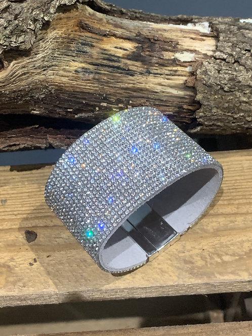 Silver Suede Sparkle Bracelet
