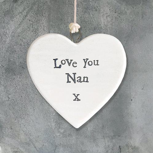 Love You Nan Porcelain Heart