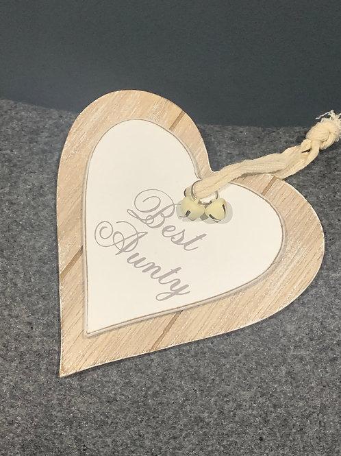 Best Aunty Wooden Heart