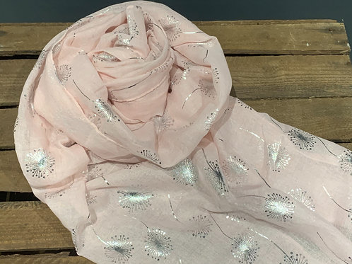 Baby Pink Silver Dandelions Scarf