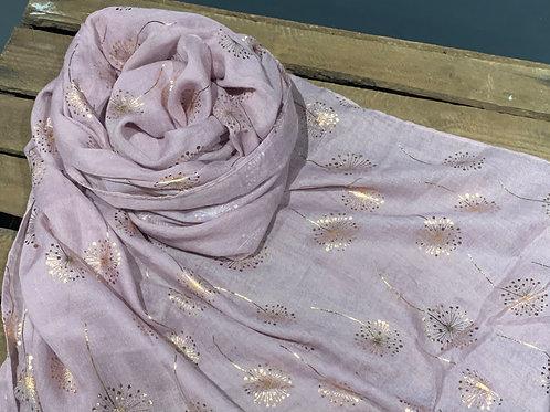 Dusky Pink Rose Gold Dandelions Scarf