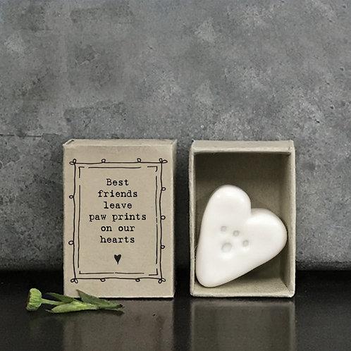 Porcelain Paw Print Matchbox Keepsake