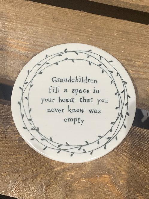Grandchildren Round Porcelain Coaster