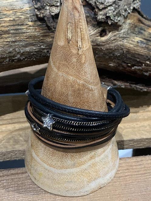 Double Wrap Stars Black Leather Bracelet