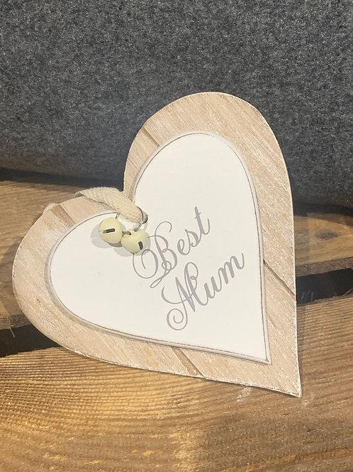 Best Mum Wooden Heart