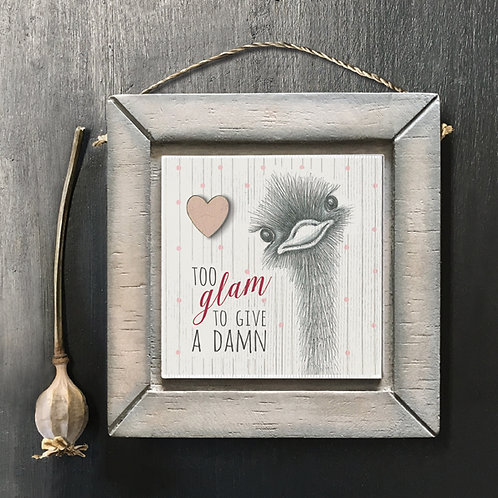 Too Glam Ostrich Wooden Picture