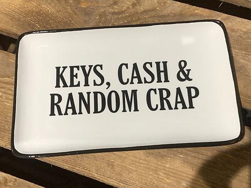 Keys Cash And Crap Ceramic Tray