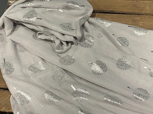 Silver Scarf With Silver Trees