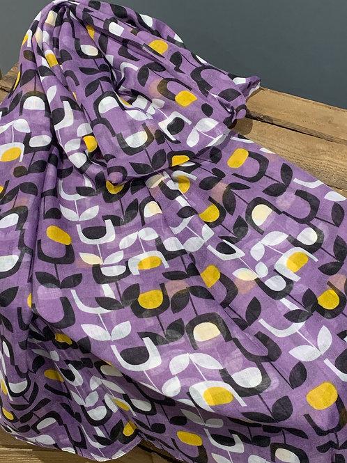 Purple Block Floral Design Scarf