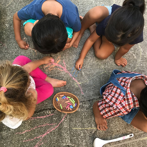 Children Playing With Chalk Outdoors