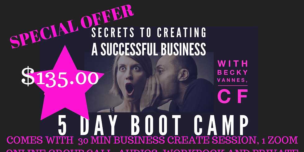 Secrets to Creating a Successful Business 5 day jump Start!