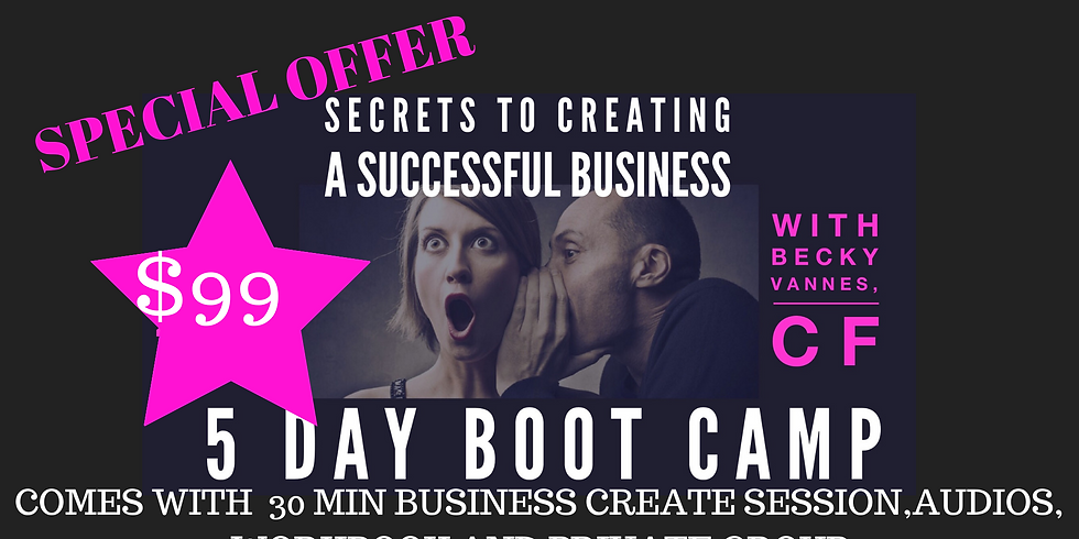 *SPECIAL OFFER! Secrets to Creating a Successful Business 5 day jump Start!