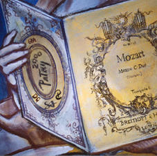 Our signatures (initials) are on back cover of this Mozart music book - the most detailed part of the dome's composition that Master Laszlo chose me to paint