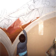 My very first brushstrokes as a mural painter