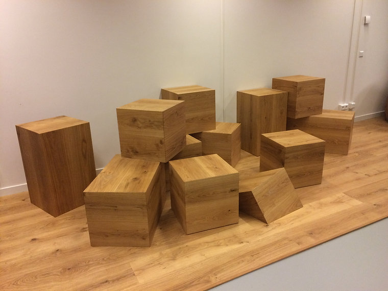 Wooden boxes for agency interior made by furniture maker Haarlem based Tim March at Woodwerk