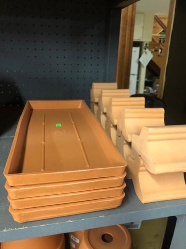 #41 Plastic terracotta window box saucers
